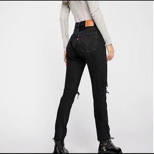Levi 501 Skinny High Rise Straight Leg Black Jean